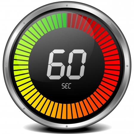 indicatore: illustrazione di una cornice in metallo cronometro digitale che mostra 60s