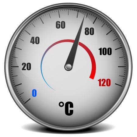 weather gauge: illustration of a metal framed analog thermometer