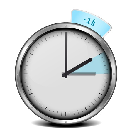 forward icon: illustration of a clock with daylight saving time 1h