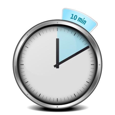 illustration of a metal framed 10min timer