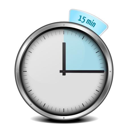 illustration of a metal framed 15min timer