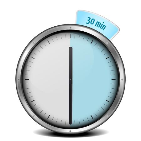 framed: illustration of a metal framed 30min timer
