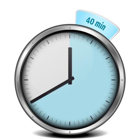 chronometer: illustration of a metal framed 40min timer