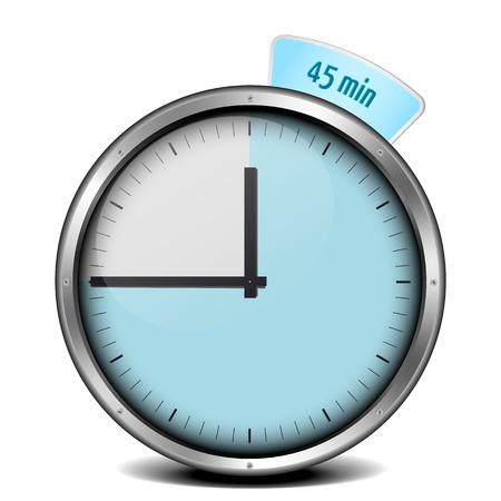 metering: illustration of a metal framed 45min timer Stock Photo