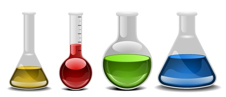drug discovery: illustration of glass flasks with different liquids Illustration