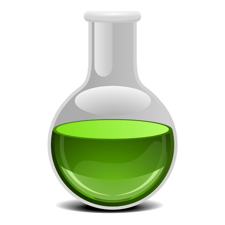 drug discovery: illustration of a glass flask with green liquid
