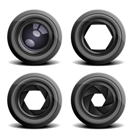 detailed illustration of camera lenses
