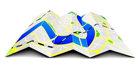 gps navigation: ilustraci�n de un mapa de la ciudad plegada