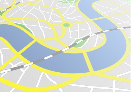 gps navigation: illustration of a city map with perspective Illustration
