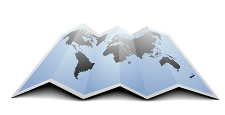 gps navigation: illustration of a world map on folded paper