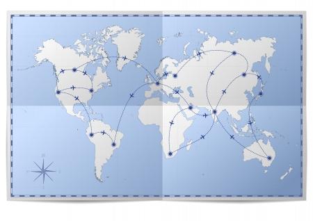 papier pli�: illustration d'une carte du monde avec des itin�raires de vol sur papier pli� Illustration