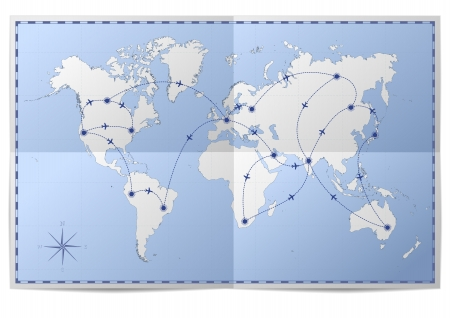 plane icon: illustration of a world map with flight routes on folded paper