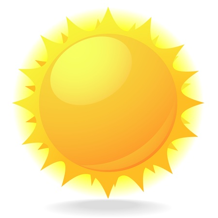 sol caricatura: ilustración de un sol con destellos y el brillo Vectores