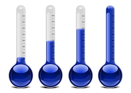 coldness: illustration of blue thermometers with different levels