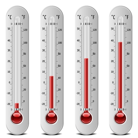 hot temperature: illustration of thermometers with different levels Illustration