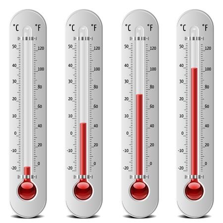 illustrazione di termometri con diversi livelli