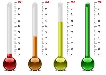 ilustración de los termómetros con diferentes niveles