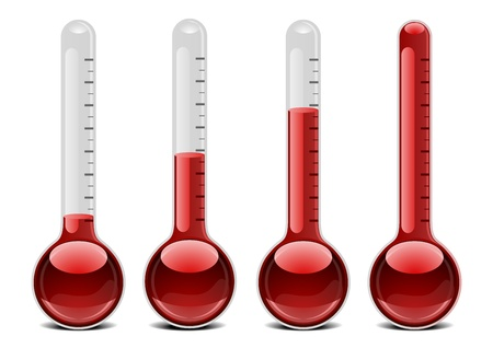 hot temperature: illustration of red thermometers with different levels