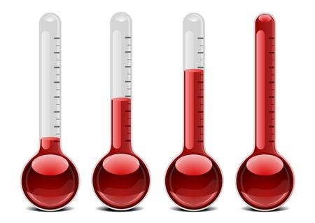 Ilustracja z czerwonym termometry z różnych poziomów