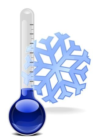 termometro: illustrazione di un termometro con un fiocco di neve