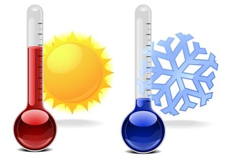 illustratie van thermometers met sneeuwvlok en zon