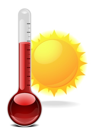 growth hot: illustration of a thermometer with a sun