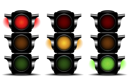 detailed illustration of traffic lights with different activated lights Vector
