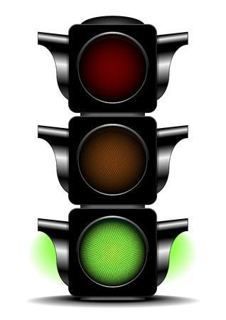 señal de transito: ilustración de un semáforo con luz verde activado Vectores