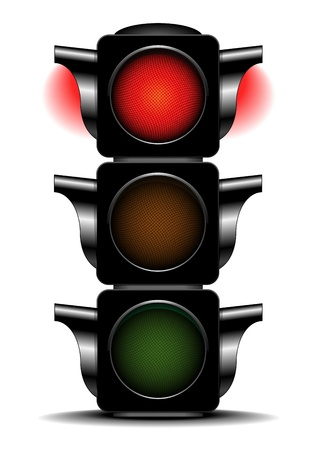 city lights: detailed illustration of a traffic light with activated red light