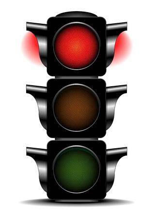 señal de transito: ilustración detallada de un semáforo con luz roja activado Vectores