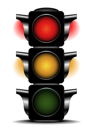 illustration of a traffic light with activated red and orange light