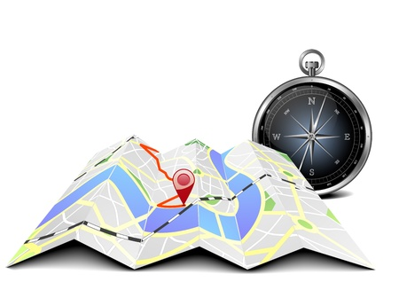 route map: illustration of a folded city map with compass