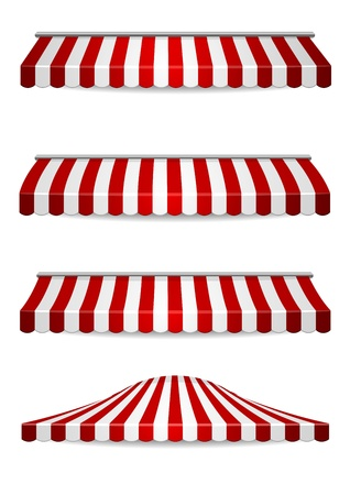marquee tent: detailed illustration of set of striped awnings