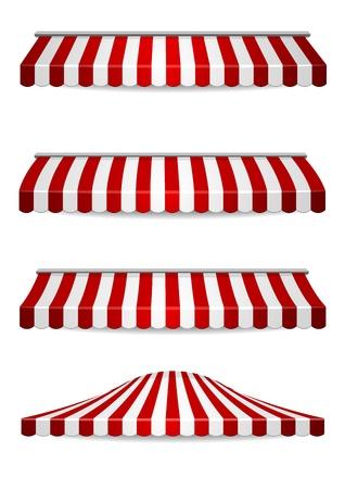 fondo de circo: ilustración detallada del conjunto de toldos a rayas Vectores