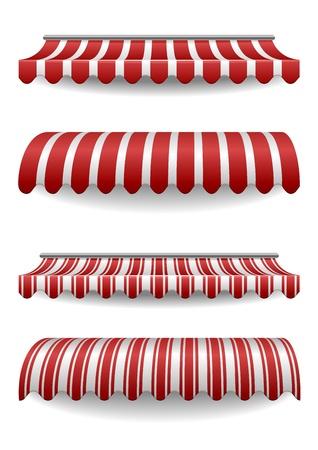 палатка: подробные иллюстрации набор полосатые маркизы