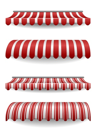grocery store: detailed illustration of set of striped awnings
