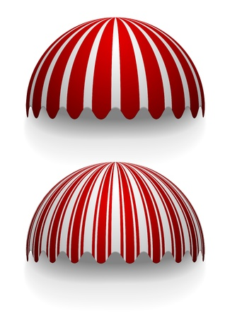 dome building: detailed illustration of round striped awnings