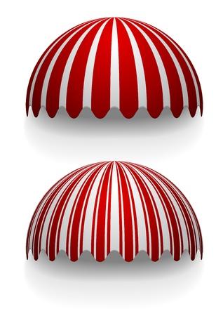 vitrine: detailed illustration of round striped awnings