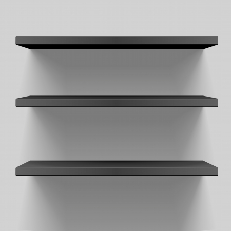 detailed illustration of black shelves with light from the top Vector