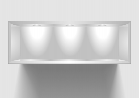 trade show: detailed illustration of an exhibition shelf with three lights