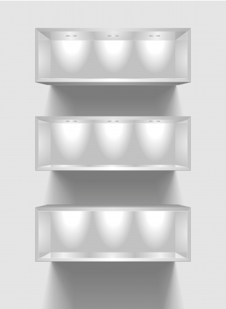 sources: detailed illustration of exhibition shelves with light sources Illustration