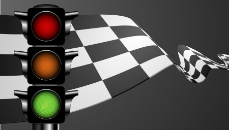 detailed illustration of a racing flag with a green traffic light Vector
