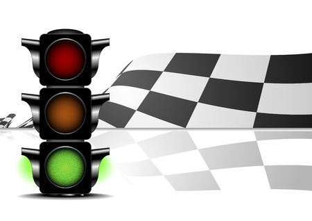 formula one: detailed illustration of a racing flag with a green traffic light
