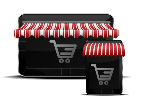 money online: detailed illustration of mobile devices with shopping icons