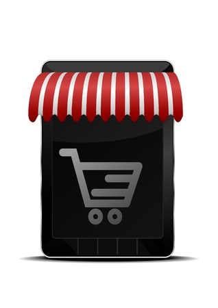 detailed illustration of a smartphone with shopping icon Vector