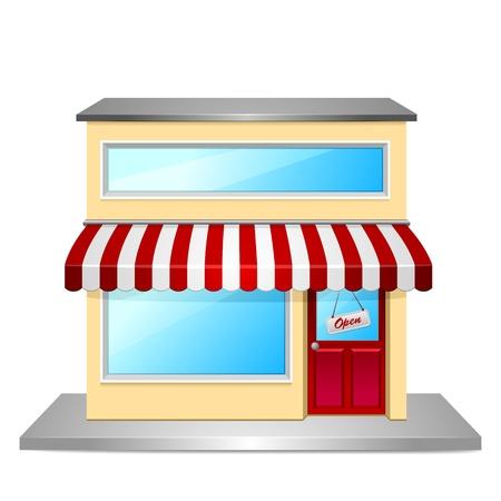awning: detailed illustration of a store front