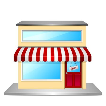 mercearia: ilustra??o detalhada de uma frente de loja