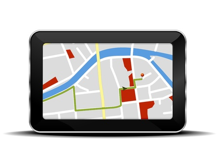gps device: detailed illustration of a tablet mobile pc with a navigation map Illustration