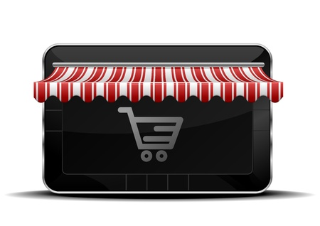 detailed illustration of a tablet mobile pc with shopping icon Vector