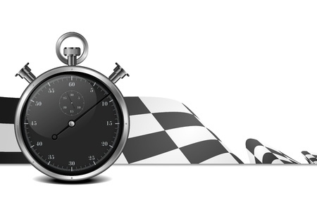 detailed illustration of a racing flag with stop watch illustration